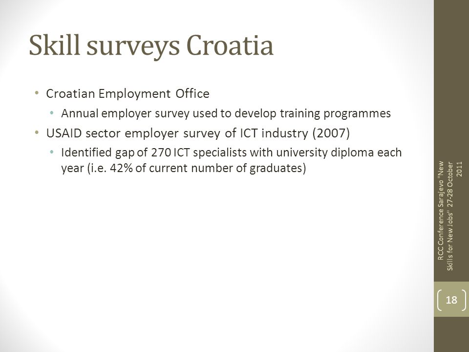 Skill surveys Croatia Croatian Employment Office Annual employer survey used to develop training programmes USAID sector employer survey of ICT indust