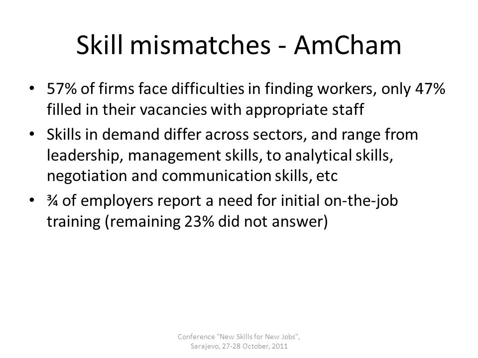 Skill mismatches - AmCham 57% of firms face difficulties in finding workers, only 47% filled in their vacancies with appropriate staff Skills in demand differ across sectors, and range from leadership, management skills, to analytical skills, negotiation and communication skills, etc ¾ of employers report a need for initial on-the-job training (remaining 23% did not answer) Conference New Skills for New Jobs , Sarajevo, 27-28 October, 2011