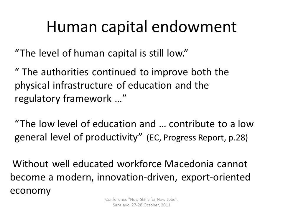 Human capital endowment The level of human capital is still low.