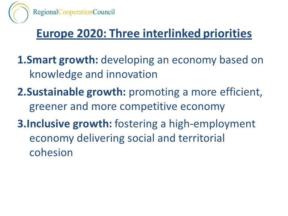 Europe 2020: Three interlinked priorities 1.Smart growth: developing an economy based on knowledge and innovation 2.Sustainable growth: promoting a more efficient, greener and more competitive economy 3.Inclusive growth: fostering a high-employment economy delivering social and territorial cohesion