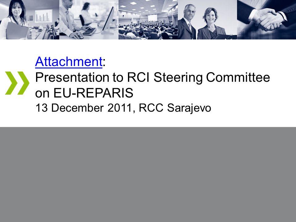 AttachmentAttachment: Presentation to RCI Steering Committee on EU-REPARIS 13 December 2011, RCC Sarajevo