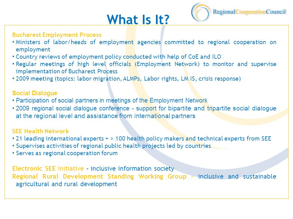 What Is It? Bucharest Employment Process Ministers of labor/heads of employment agencies committed to regional cooperation on employment Country revie