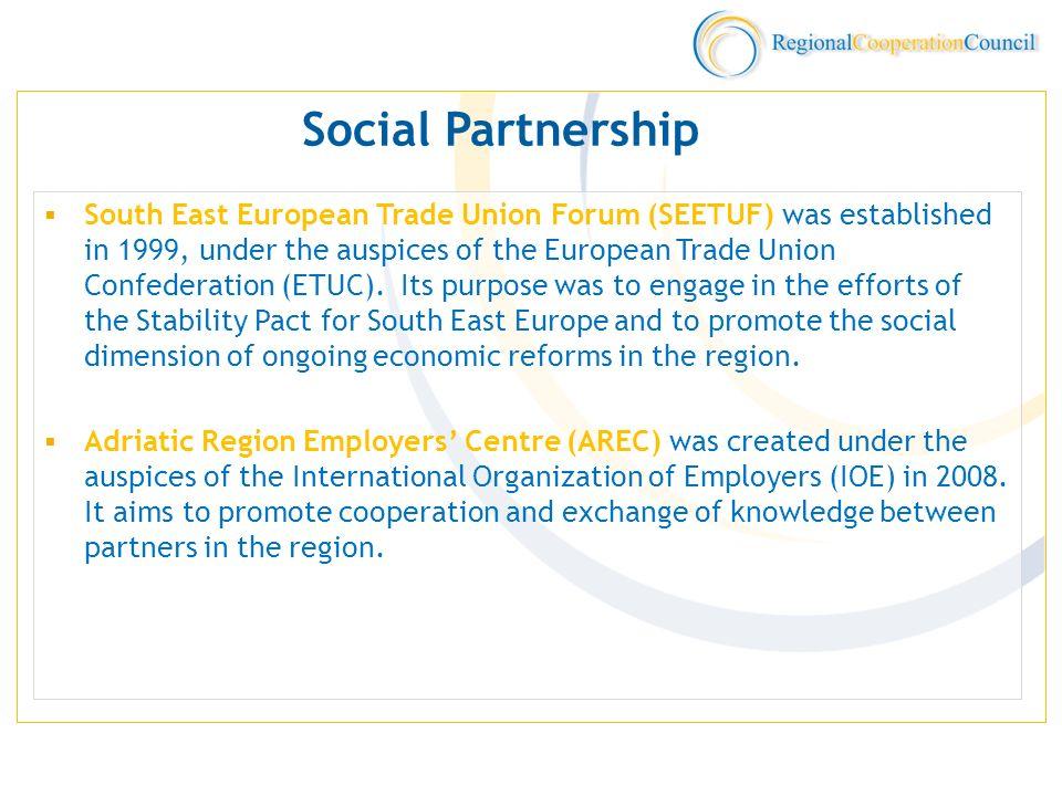 Social Partnership South East European Trade Union Forum (SEETUF) was established in 1999, under the auspices of the European Trade Union Confederatio