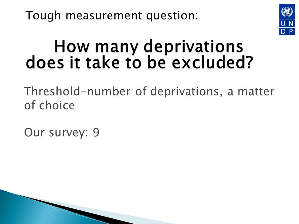 How many deprivations does it take to be excluded? Tough measurement question: How many deprivations does it take to be excluded? Threshold-number of