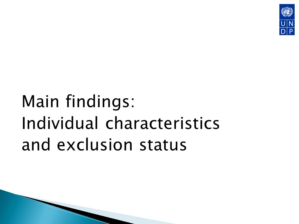 Main findings: Individual characteristics and exclusion status