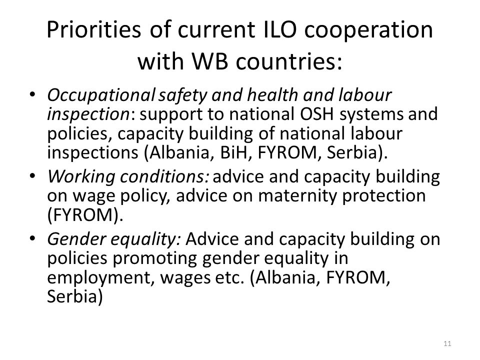 Priorities of current ILO cooperation with WB countries: Occupational safety and health and labour inspection: support to national OSH systems and policies, capacity building of national labour inspections (Albania, BiH, FYROM, Serbia).