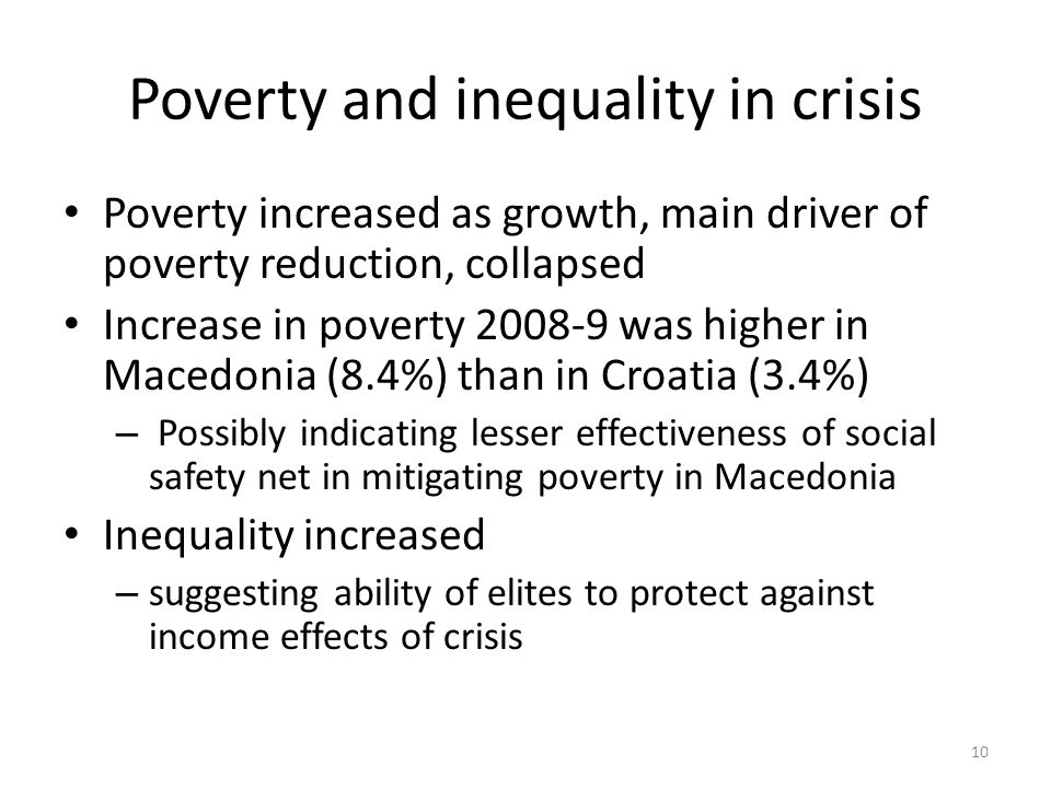 Poverty and inequality in crisis Poverty increased as growth, main driver of poverty reduction, collapsed Increase in poverty 2008-9 was higher in Macedonia (8.4%) than in Croatia (3.4%) – Possibly indicating lesser effectiveness of social safety net in mitigating poverty in Macedonia Inequality increased – suggesting ability of elites to protect against income effects of crisis 10