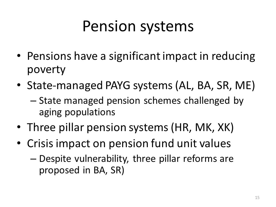 Pension systems Pensions have a significant impact in reducing poverty State-managed PAYG systems (AL, BA, SR, ME) – State managed pension schemes challenged by aging populations Three pillar pension systems (HR, MK, XK) Crisis impact on pension fund unit values – Despite vulnerability, three pillar reforms are proposed in BA, SR) 15