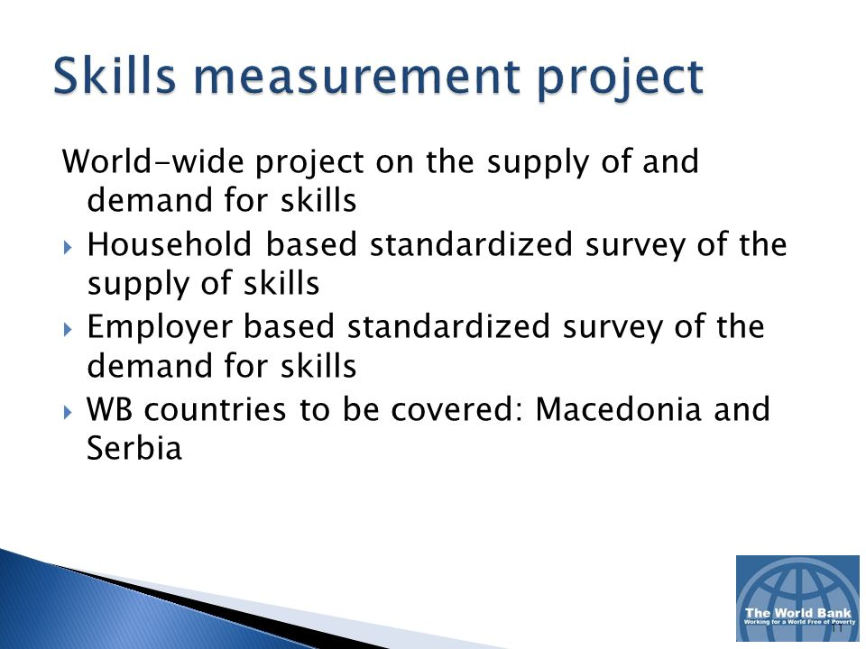 World-wide project on the supply of and demand for skills Household based standardized survey of the supply of skills Employer based standardized survey of the demand for skills WB countries to be covered: Macedonia and Serbia 11