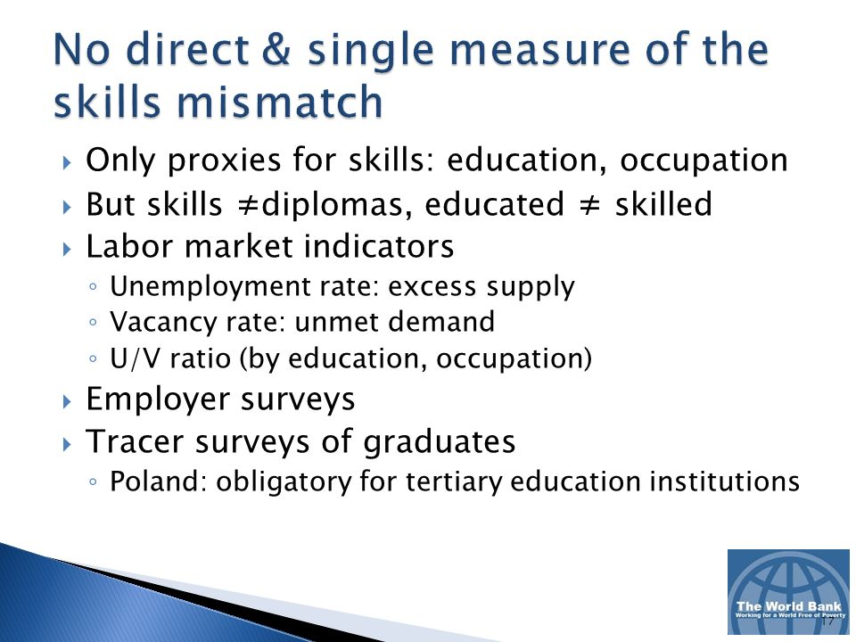 Only proxies for skills: education, occupation But skills diplomas, educated skilled Labor market indicators Unemployment rate: excess supply Vacancy rate: unmet demand U/V ratio (by education, occupation) Employer surveys Tracer surveys of graduates Poland: obligatory for tertiary education institutions 17