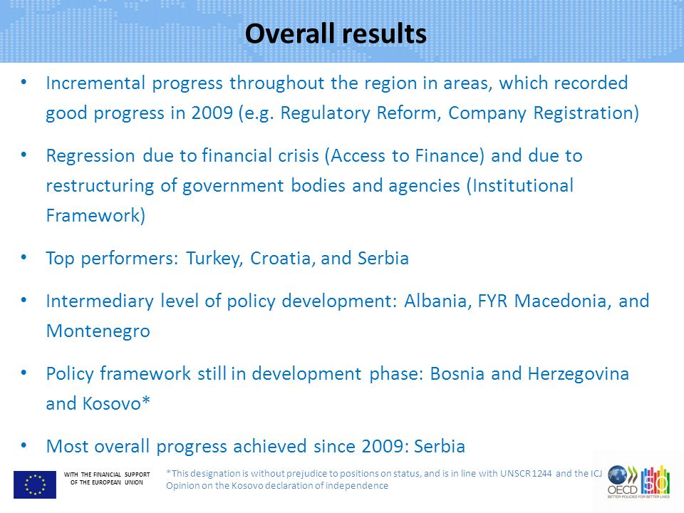 WITH THE FINANCIAL SUPPORT OF THE EUROPEAN UNION Overall results Incremental progress throughout the region in areas, which recorded good progress in 2009 (e.g.