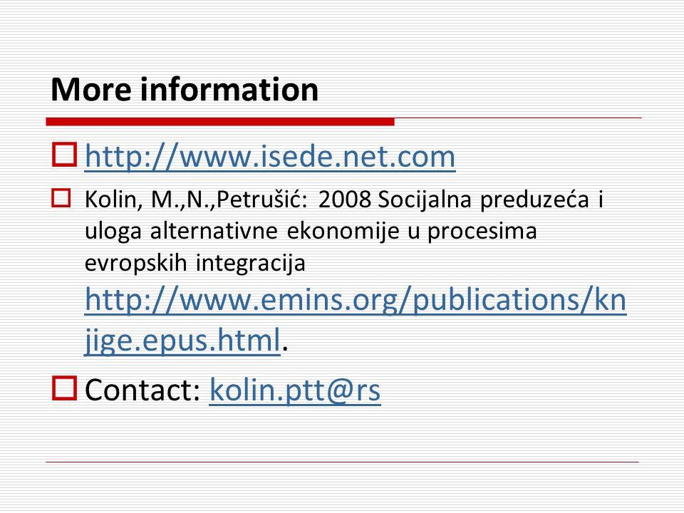 More information http://www.isede.net.com http://www.isede.net.com Kolin, M.,N.,Petrušić: 2008 Socijalna preduzeća i uloga alternativne ekonomije u procesima evropskih integracija http://www.emins.org/publications/kn jige.epus.html.