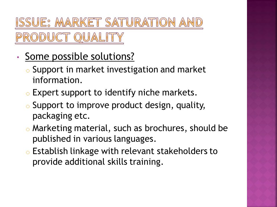 Some possible solutions? o Support in market investigation and market information. o Expert support to identify niche markets. o Support to improve pr