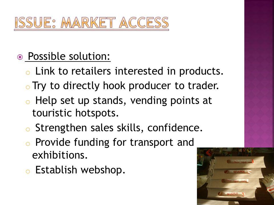 Possible solution: o Link to retailers interested in products. o Try to directly hook producer to trader. o Help set up stands, vending points at tour