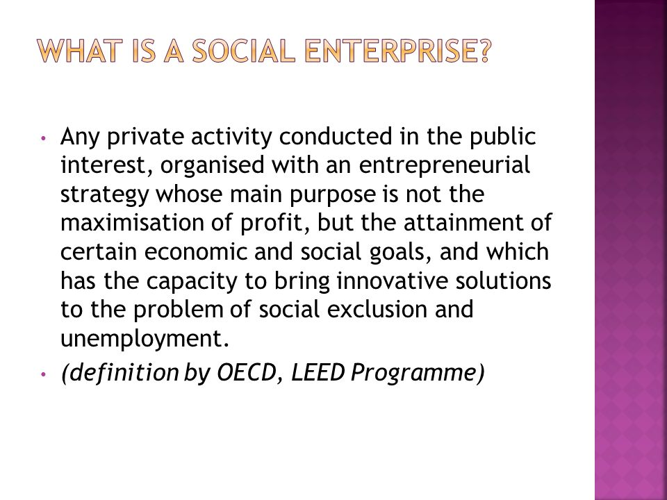 Any private activity conducted in the public interest, organised with an entrepreneurial strategy whose main purpose is not the maximisation of profit