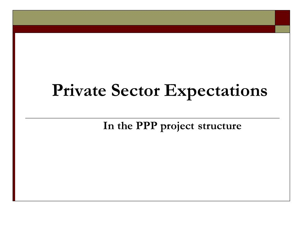 Private Sector Expectations In the PPP project structure
