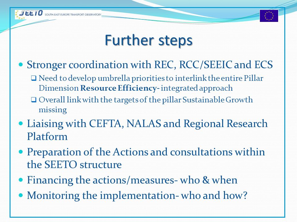 Further steps Stronger coordination with REC, RCC/SEEIC and ECS Need to develop umbrella priorities to interlink the entire Pillar Dimension Resource Efficiency- integrated approach Overall link with the targets of the pillar Sustainable Growth missing Liaising with CEFTA, NALAS and Regional Research Platform Preparation of the Actions and consultations within the SEETO structure Financing the actions/measures- who & when Monitoring the implementation- who and how