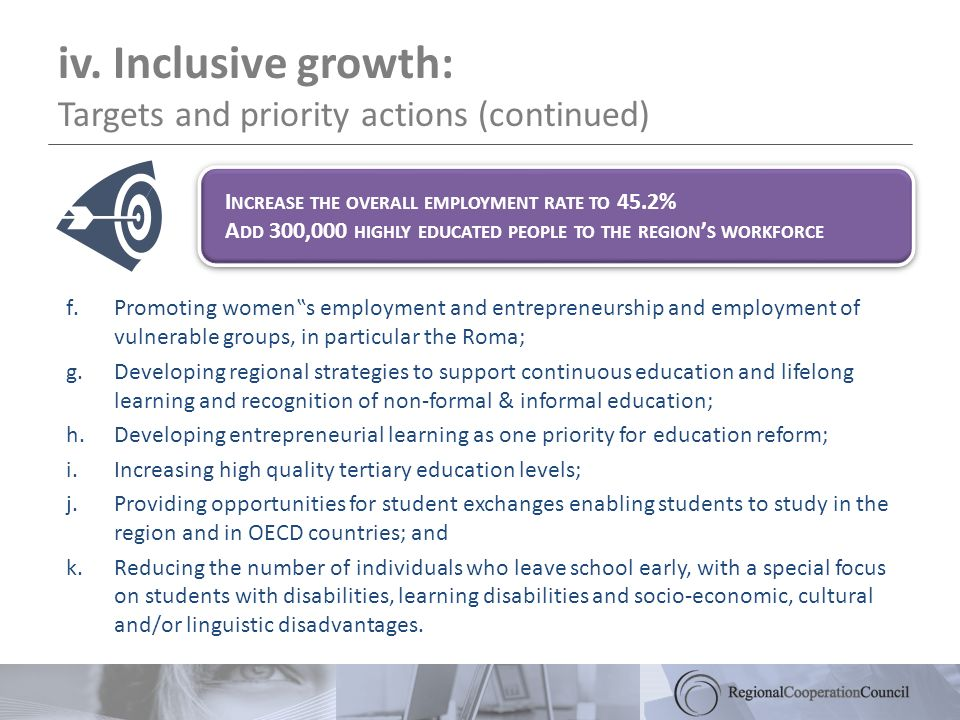 iv. Inclusive growth: Targets and priority actions (continued) f.Promoting womens employment and entrepreneurship and employment of vulnerable groups,