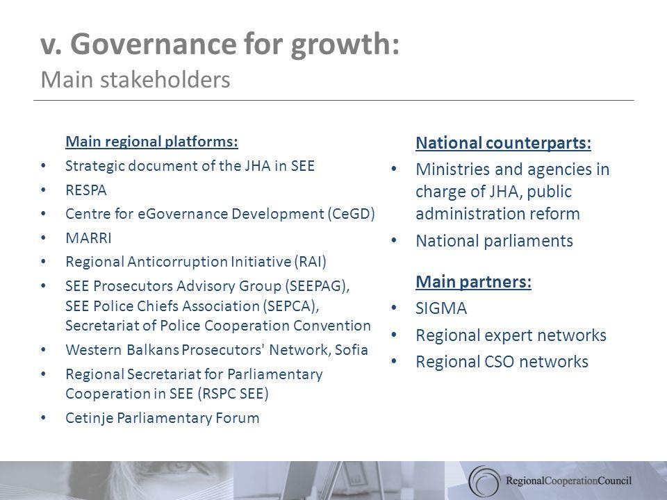v. Governance for growth: Main stakeholders Main regional platforms: Strategic document of the JHA in SEE RESPA Centre for eGovernance Development (Ce