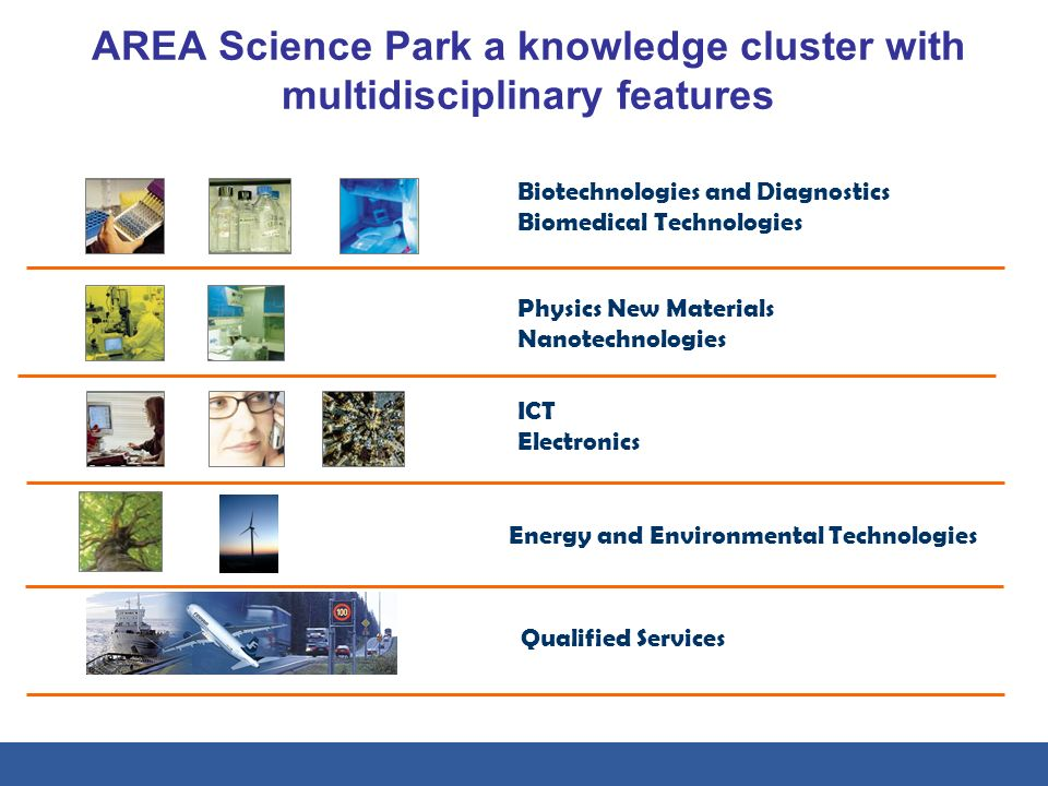 AREA Science Park a knowledge cluster with multidisciplinary features Biotechnologies and Diagnostics Biomedical Technologies Physics New Materials Na