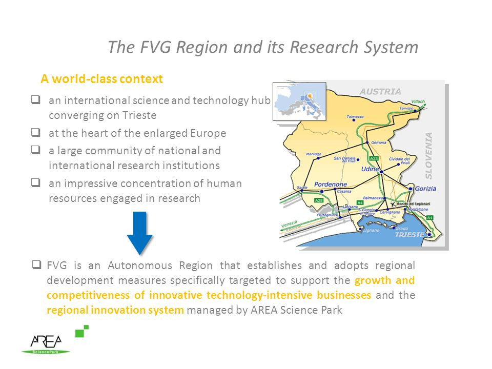 The FVG Region and its Research System A world-class context an international science and technology hub converging on Trieste at the heart of the enlarged Europe a large community of national and international research institutions an impressive concentration of human resources engaged in research FVG is an Autonomous Region that establishes and adopts regional development measures specifically targeted to support the growth and competitiveness of innovative technology-intensive businesses and the regional innovation system managed by AREA Science Park