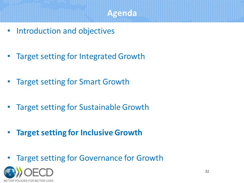 Agenda Introduction and objectives Target setting for Integrated Growth Target setting for Smart Growth Target setting for Sustainable Growth Target setting for Inclusive Growth Target setting for Governance for Growth 32