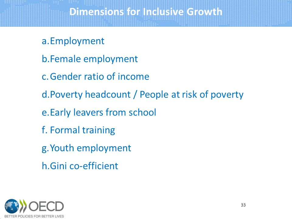 a.Employment b.Female employment c.Gender ratio of income d.Poverty headcount / People at risk of poverty e.Early leavers from school f.Formal training g.Youth employment h.Gini co-efficient Dimensions for Inclusive Growth 33