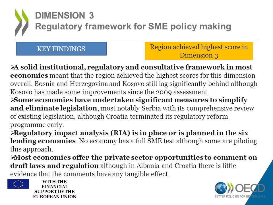 WITH THE FINANCIAL SUPPORT OF THE EUROPEAN UNION DIMENSION 3 Regulatory framework for SME policy making KEY FINDINGS A solid institutional, regulatory