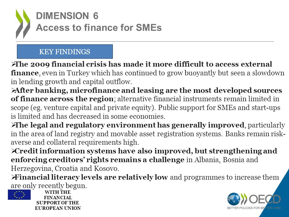 WITH THE FINANCIAL SUPPORT OF THE EUROPEAN UNION DIMENSION 6 Access to finance for SMEs KEY FINDINGS The 2009 financial crisis has made it more diffic