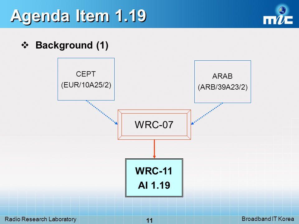 Broadband IT Korea 11 Radio Research Laboratory Agenda Item 1.19 Background (1) WRC-07 CEPT (EUR/10A25/2) ARAB (ARB/39A23/2) WRC-11 AI 1.19