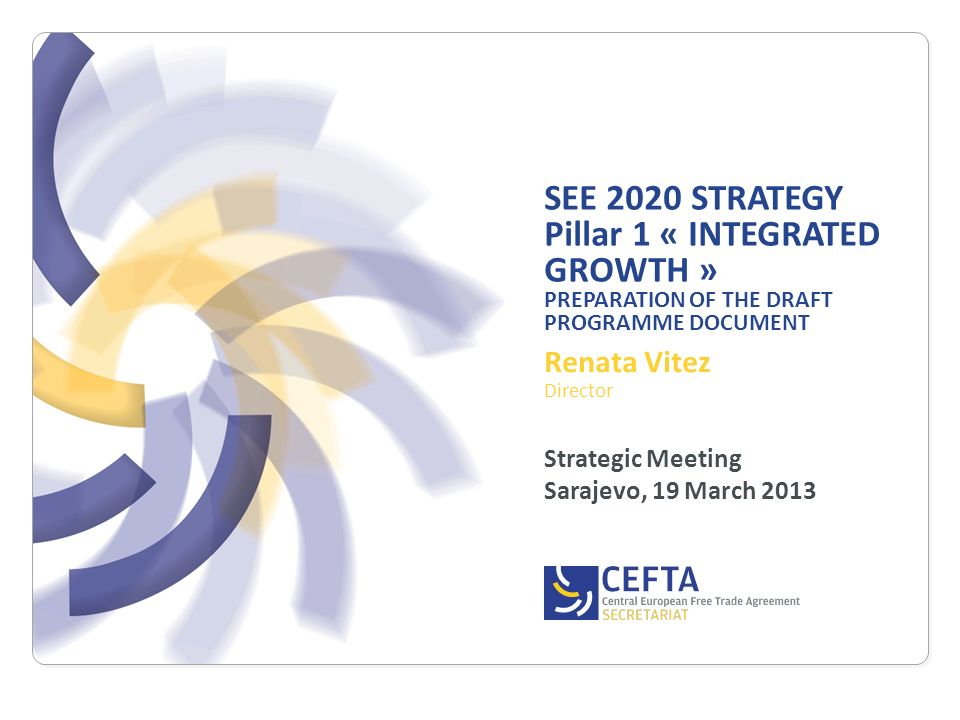 SEE 2020 STRATEGY Pillar 1 « INTEGRATED GROWTH » PREPARATION OF THE DRAFT PROGRAMME DOCUMENT Strategic Meeting Sarajevo, 19 March 2013 Renata Vitez Di