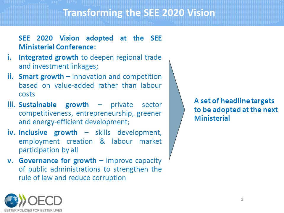 Transforming the SEE 2020 Vision SEE 2020 Vision adopted at the SEE Ministerial Conference: i.Integrated growth to deepen regional trade and investment linkages; ii.Smart growth – innovation and competition based on value-added rather than labour costs iii.Sustainable growth – private sector competitiveness, entrepreneurship, greener and energy-efficient development; iv.Inclusive growth – skills development, employment creation & labour market participation by all v.Governance for growth – improve capacity of public administrations to strengthen the rule of law and reduce corruption A set of headline targets to be adopted at the next Ministerial 3