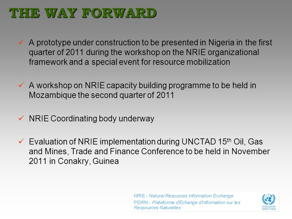 THE WAY FORWARD A prototype under construction to be presented in Nigeria in the first quarter of 2011 during the workshop on the NRIE organizational
