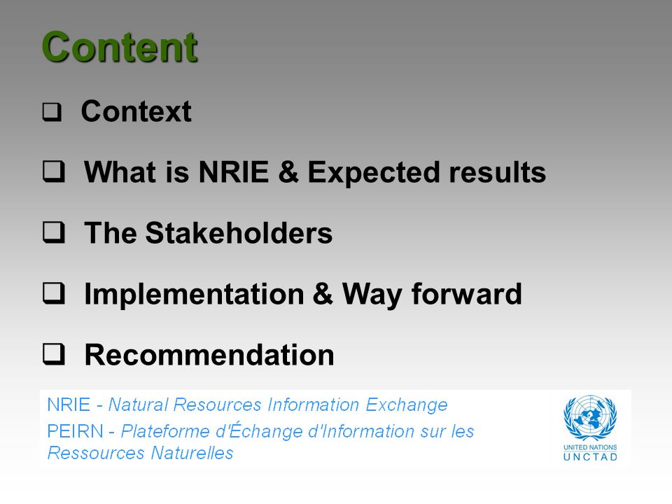 Content Context What is NRIE & Expected results The Stakeholders Implementation & Way forward Recommendation