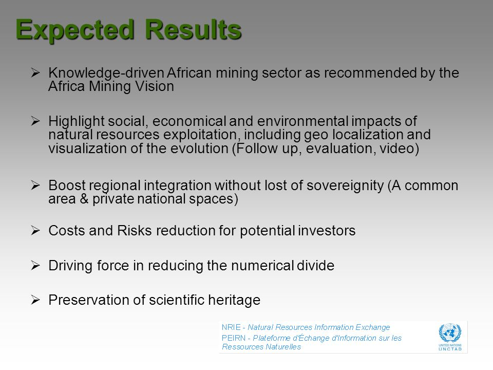 Expected Results Knowledge-driven African mining sector as recommended by the Africa Mining Vision Highlight social, economical and environmental impa