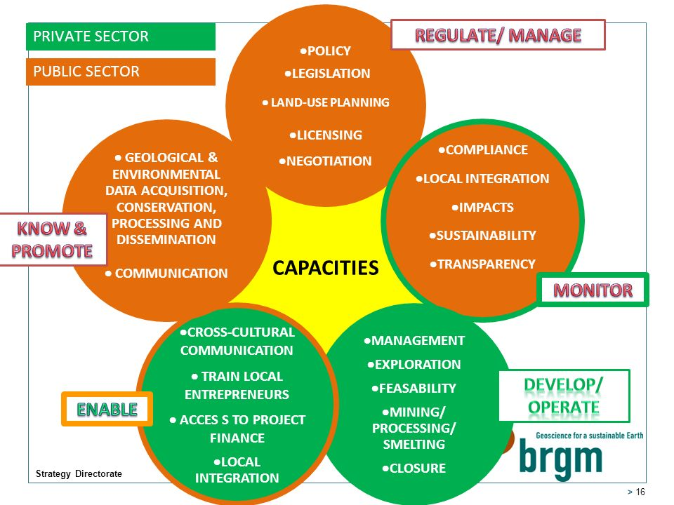 Strategy Directorate > 16 CAPACITIES POLICY LEGISLATION LAND-USE PLANNING LICENSING NEGOTIATION COMPLIANCE LOCAL INTEGRATION IMPACTS SUSTAINABILITY TRANSPARENCY MANAGEMENT EXPLORATION FEASABILITY MINING/ PROCESSING/ SMELTING CLOSURE CROSS-CULTURAL COMMUNICATION TRAIN LOCAL ENTREPRENEURS ACCES S TO PROJECT FINANCE LOCAL INTEGRATION GEOLOGICAL & ENVIRONMENTAL DATA ACQUISITION, CONSERVATION, PROCESSING AND DISSEMINATION COMMUNICATION PRIVATE SECTOR PUBLIC SECTOR