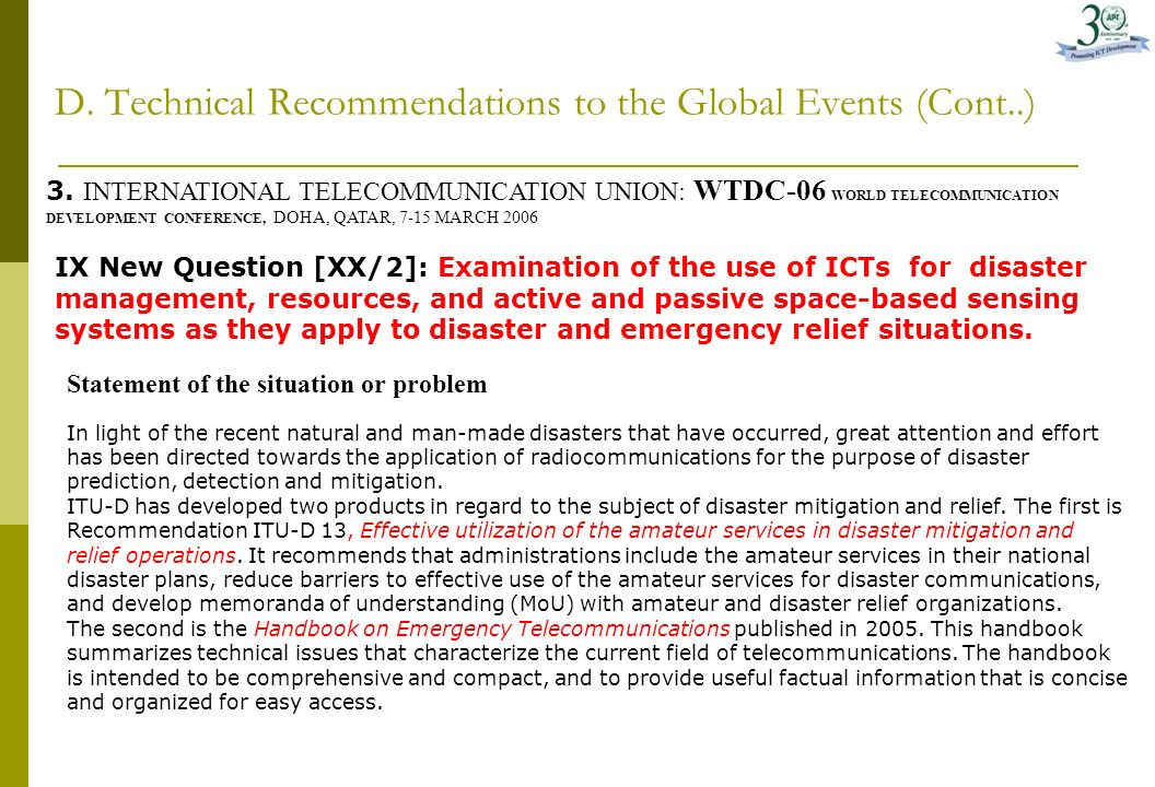 D. Technical Recommendations to the Global Events 1.APT Recommendation on Use of the Band 4940-4990 MHZ for Public Protection and Disaster Relief (PPD