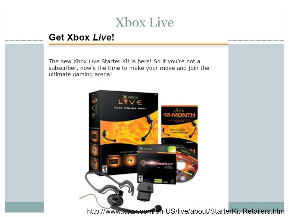 Xbox Live http://www.xbox.com/en-US/live/about/StarterKit-Retailers.htm