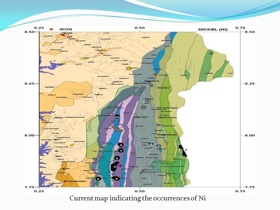 Current map indicating the occurrences of Ni