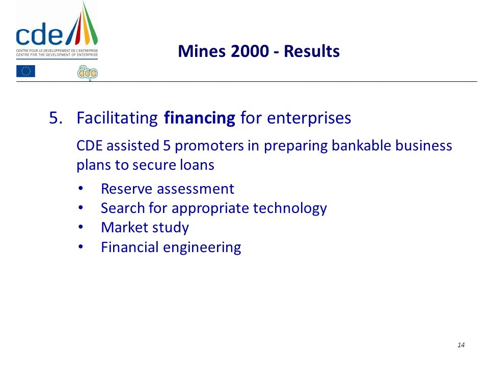 5.Facilitating financing for enterprises CDE assisted 5 promoters in preparing bankable business plans to secure loans Reserve assessment Search for appropriate technology Market study Financial engineering Mines 2000 - Results 14