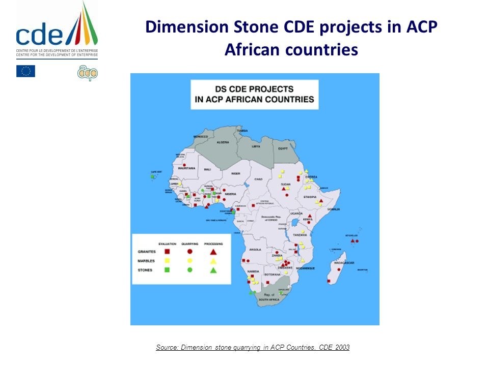 Source: Dimension stone quarrying in ACP Countries, CDE 2003 Dimension Stone CDE projects in ACP African countries