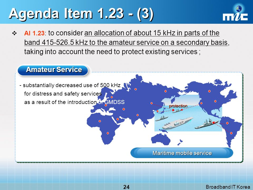 Broadband IT Korea 24 Agenda Item 1.23 - (3) AI 1.23: to consider an allocation of about 15 kHz in parts of the band 415-526.5 kHz to the amateur service on a secondary basis, taking into account the need to protect existing services ; Amateur Service Maritime mobile service protection - substantially decreased use of 500 kHz for distress and safety services as a result of the introduction of GMDSS