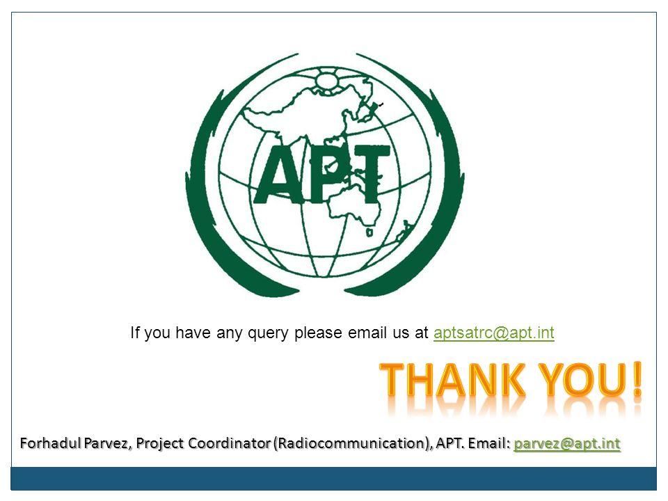 Forhadul Parvez, Project Coordinator (Radiocommunication), APT.