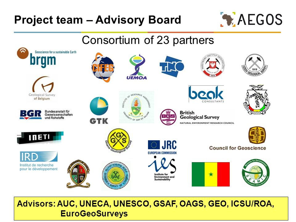 6 Project team – Advisory Board Consortium of 23 partners Advisors: AUC, UNECA, UNESCO, GSAF, OAGS, GEO, ICSU/ROA, EuroGeoSurveys