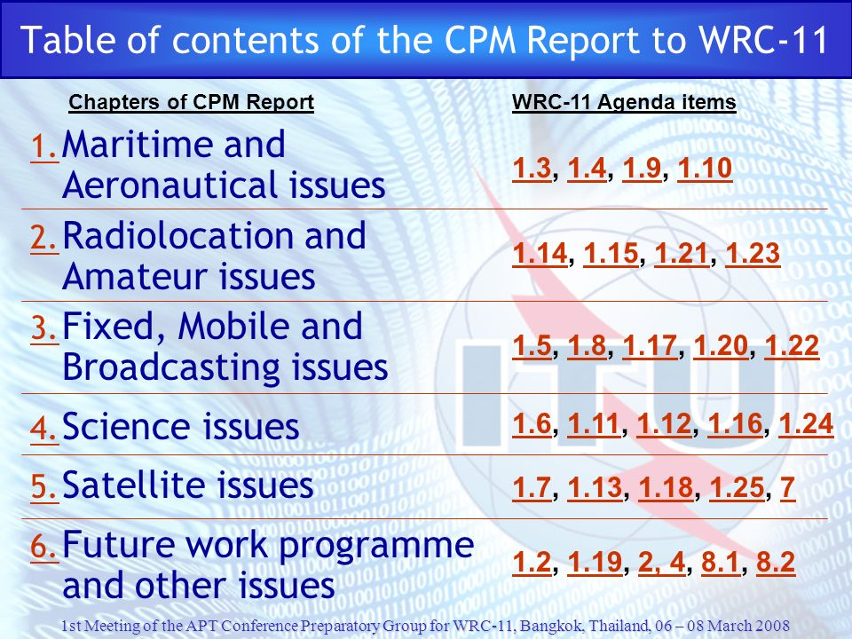 1st Meeting of the APT Conference Preparatory Group for WRC-11, Bangkok, Thailand, 06 – 08 March 2008 Table of contents of the CPM Report to WRC-11 1.