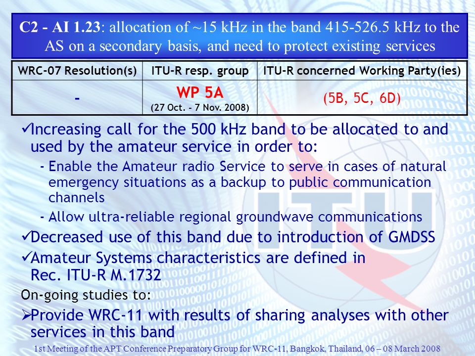 1st Meeting of the APT Conference Preparatory Group for WRC-11, Bangkok, Thailand, 06 – 08 March 2008 C2 - AI 1.23: allocation of ~15 kHz in the band