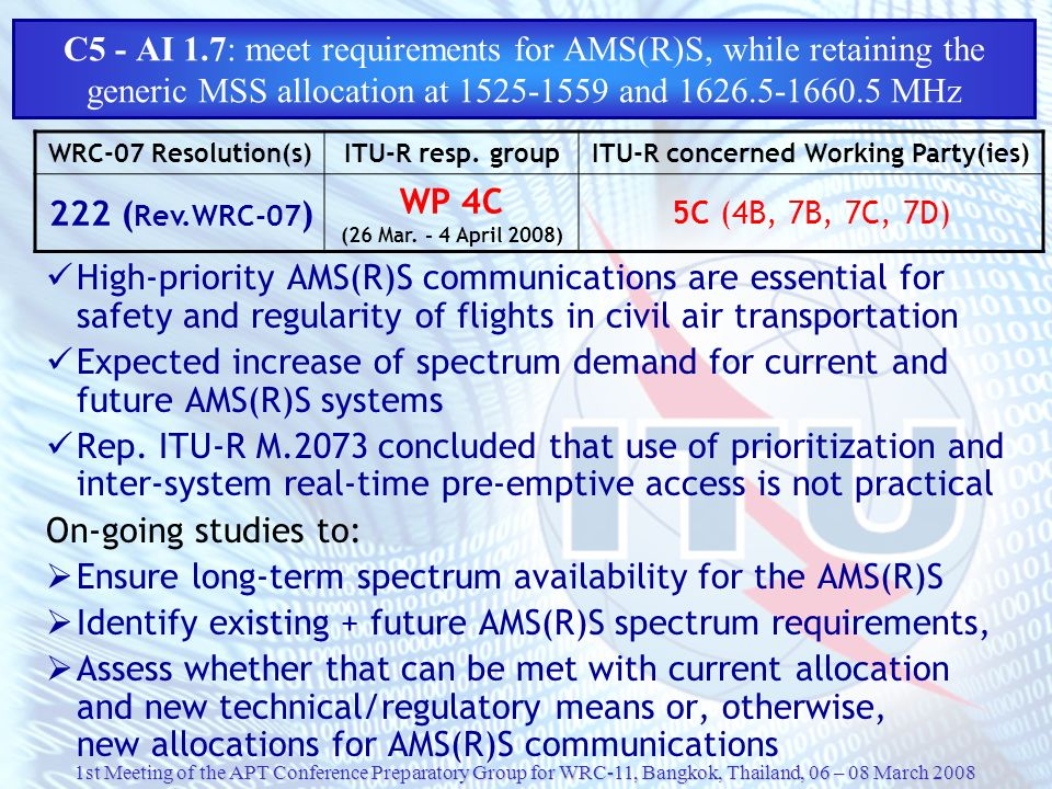 1st Meeting of the APT Conference Preparatory Group for WRC-11, Bangkok, Thailand, 06 – 08 March 2008 C5 - AI 1.7: meet requirements for AMS(R)S, whil