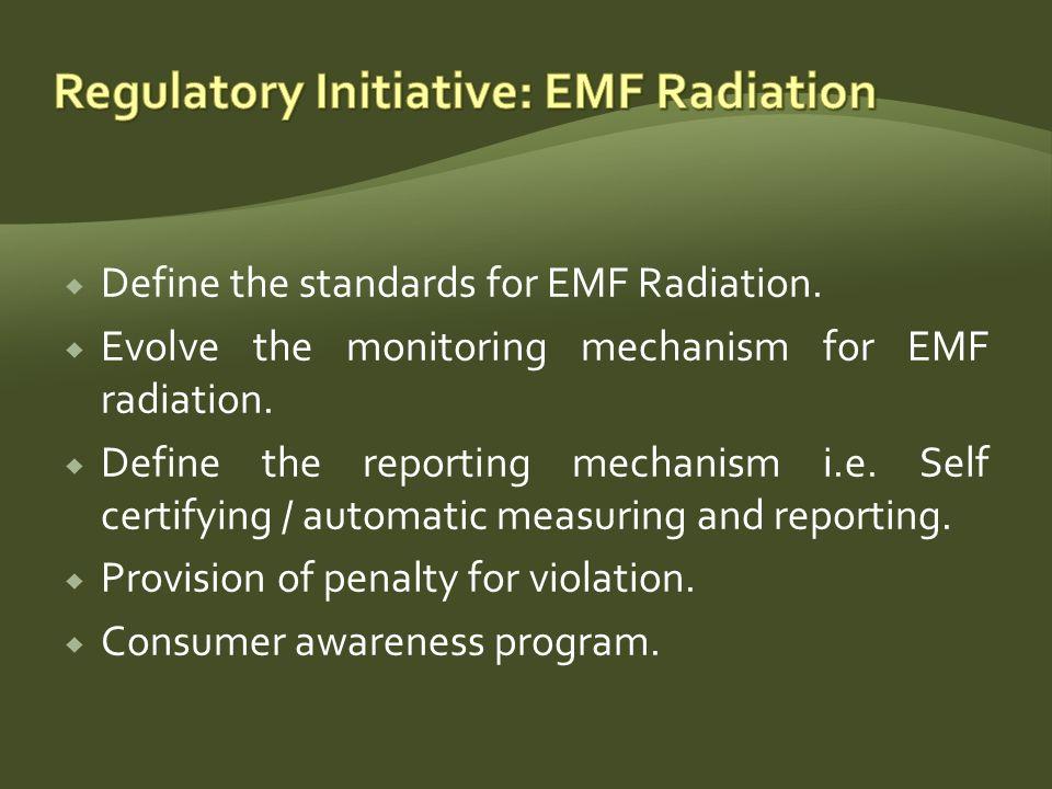 Define the standards for EMF Radiation. Evolve the monitoring mechanism for EMF radiation.