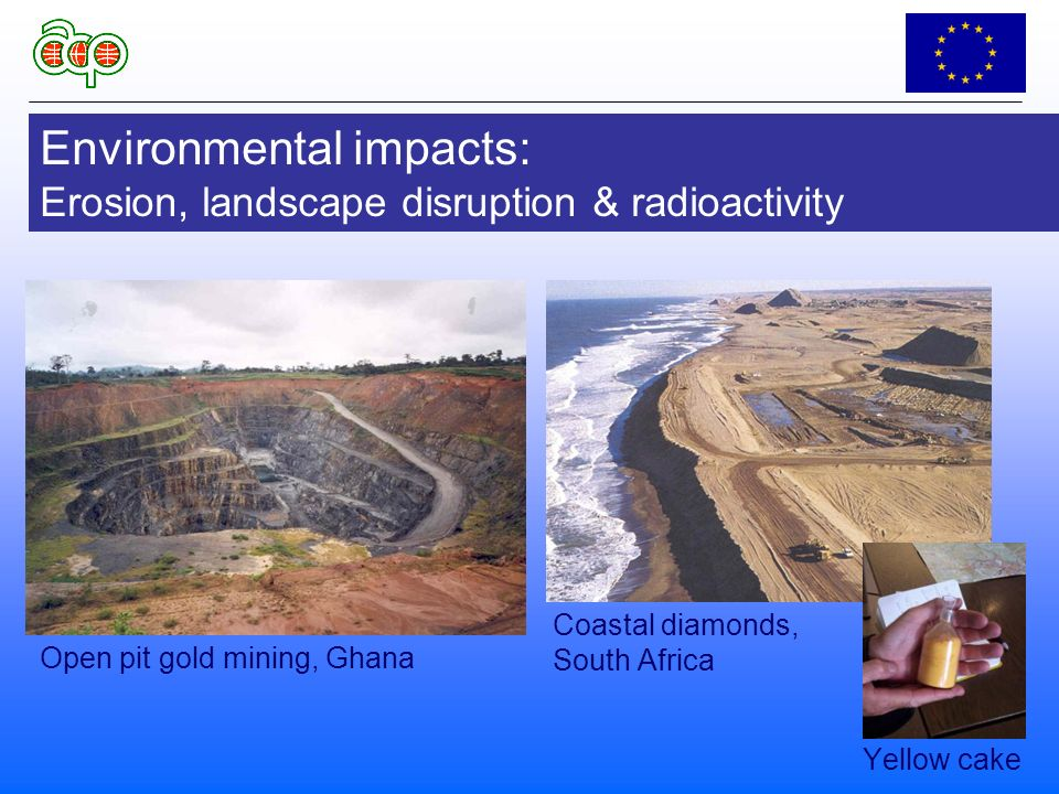 Environmental impacts: Erosion, landscape disruption & radioactivity Coastal diamonds, South Africa Yellow cake Open pit gold mining, Ghana