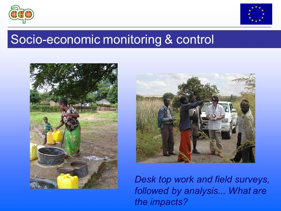 Socio-economic monitoring & control Desk top work and field surveys, followed by analysis...
